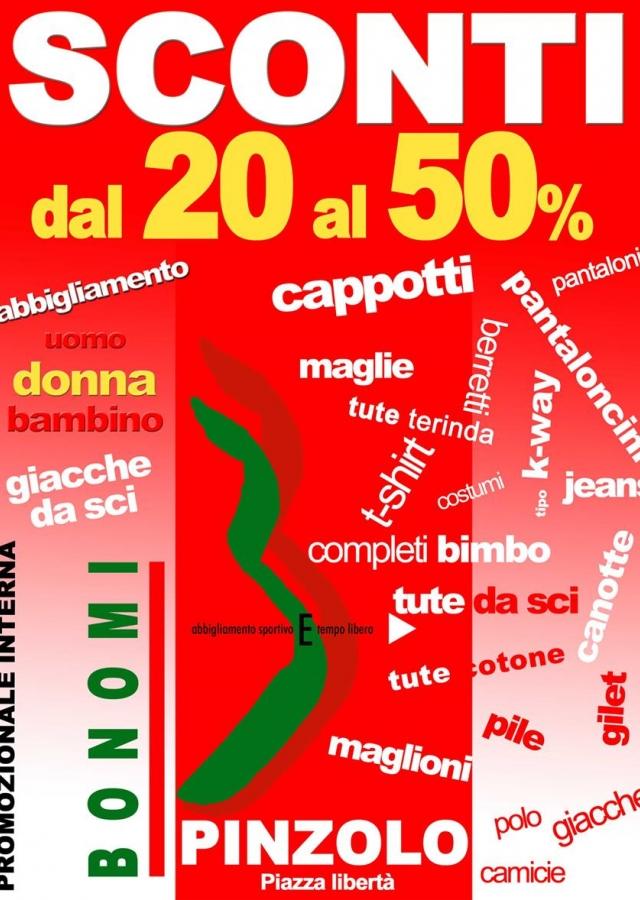 A Pinzolo,sconti dal 20 al 50% da Bonomi Abbigliamento